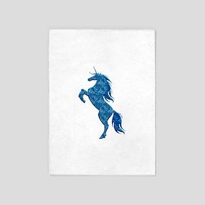 Blue Fire Unicorn 5'x7'Area Rug
