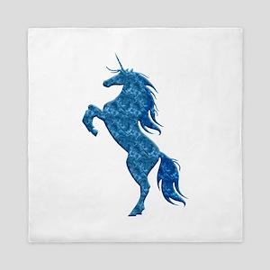 Blue Fire Unicorn Queen Duvet