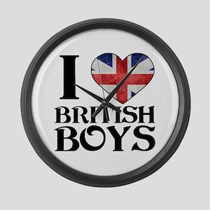 I love heart British Boys Large Wall Clock