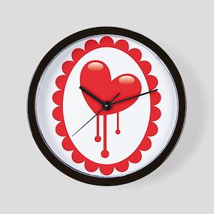 Bleeding red heart Wall Clock