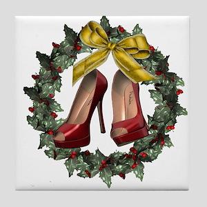 Red Stiletto Shoe Holiday Wreath Tile Coaster