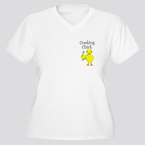 Cooking Chick Text Women's Plus Size V-Neck T-Shir