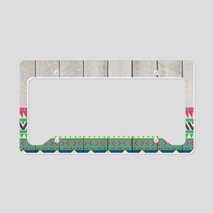 Vibrant Pink Turquoise Aztec  License Plate Holder