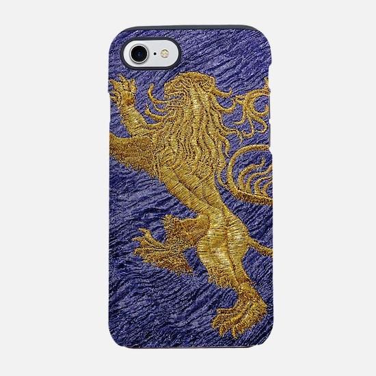 Rampant Lion - gold on blue iPhone 7 Tough Case