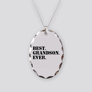 Best Grandson Ever Necklace Oval Charm