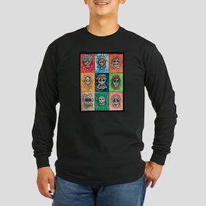 Long Sleeve Dark T-Shirt Sugar Skulls 9