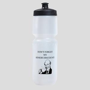 funny senior citizen discount joke Sports Bottle
