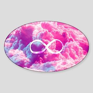 Girly Infinity Symbol Bright Pink C Sticker (Oval)