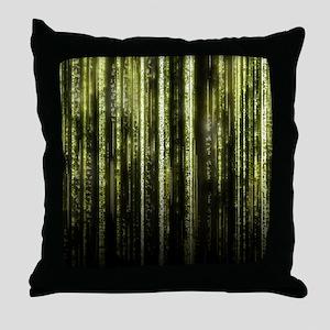 Digital Rain - Yellow Throw Pillow