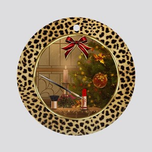 Makeup Christmas Tree Cheetah (ro Ornament (round)