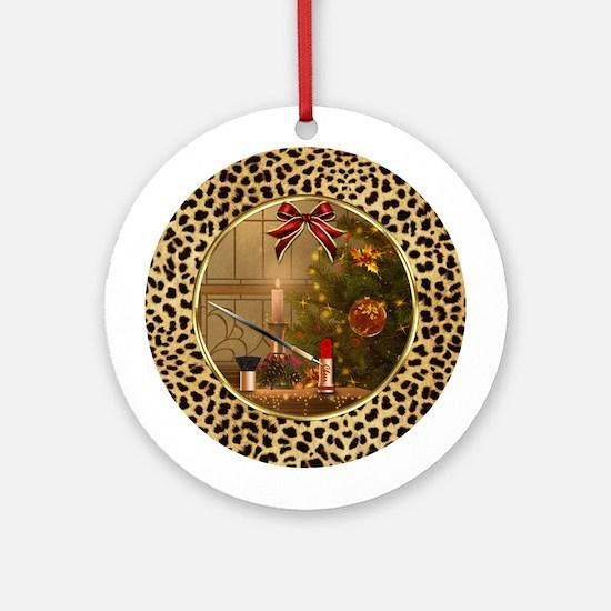 Makeup Christmas Tree Cheetah (ro Ornament (round)