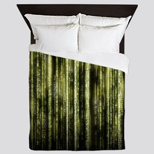 Digital Rain - Yellow Queen Duvet