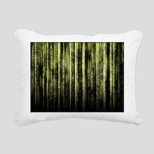 Digital Rain - Yellow Rectangular Canvas Pillow