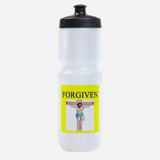 jesus forgives Sports Bottle