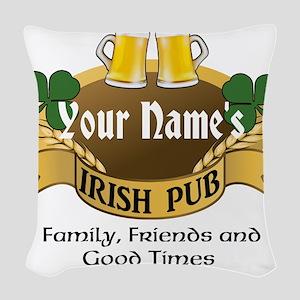 Personalized Name Irish Pub Woven Throw Pillow