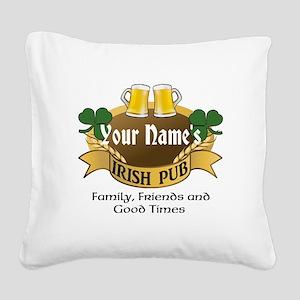Personalized Name Irish Pub Square Canvas Pillow