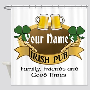 Personalized Name Irish Pub Shower Curtain