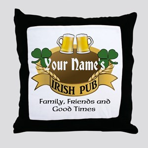 Personalized Name Irish Pub Throw Pillow