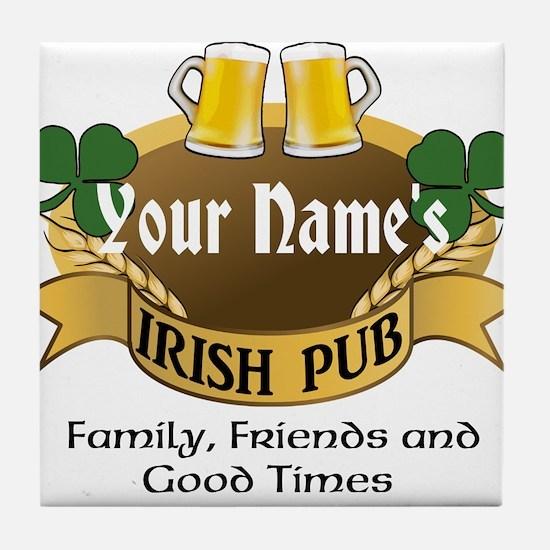 Personalized Name Irish Pub Tile Coaster