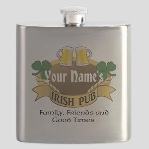 Personalized Name Irish Pub Flask