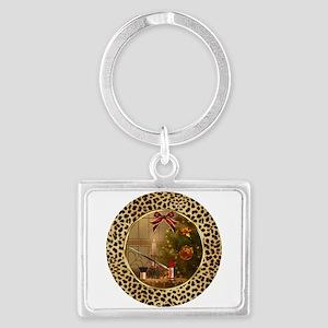 Makeup Cheetah Christmas Silver Keychain