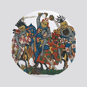 Medieval Knights in Combat Round Ornament