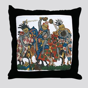 Medieval Knights in Combat Throw Pillow