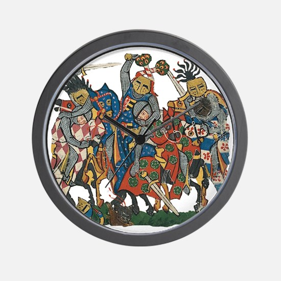 Medieval Knights in Combat Wall Clock