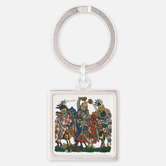 Medieval Knights in Combat Square Keychain