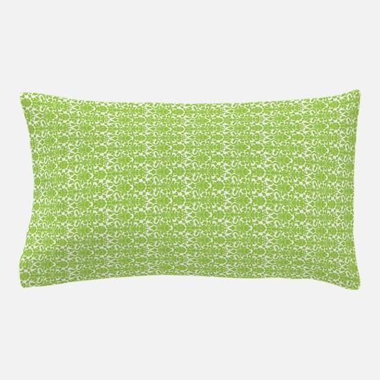 Lime White Damask Pattern Pillow Case