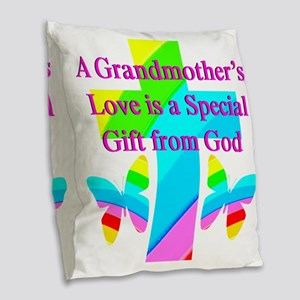 DARLING GRANDMA Burlap Throw Pillow