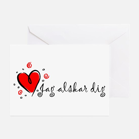 """I Love You"" [Swedish] Greeting Cards (Package of"