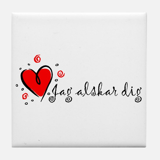 """I Love You"" [Swedish] Tile Coaster"
