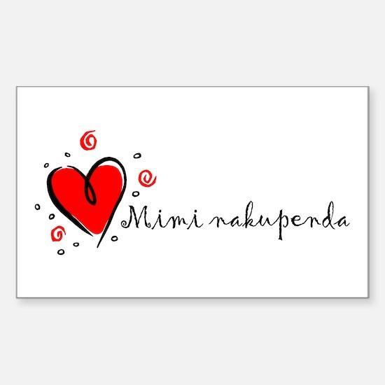 """I Love You"" [Swahili] Rectangle Decal"