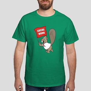 Beaver Social Work Flag Dark T-Shirt