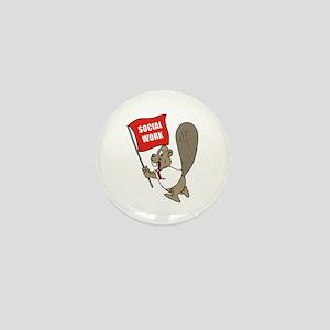 Beaver Social Work Flag Mini Button