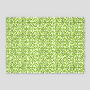 Lime White Damask Pattern 5'X7'area Rug