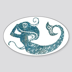 mermaid-worn_tr Sticker (Oval)