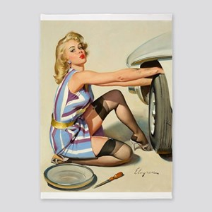 Pin Up Girl, Changing Tire Vintage Poster 5'X7'are