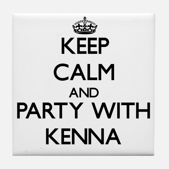 Keep Calm and Party with Kenna Tile Coaster