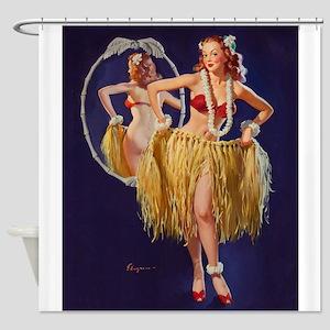 Pin Up Girl, Grass Skirt, Vintage Poster Shower Cu