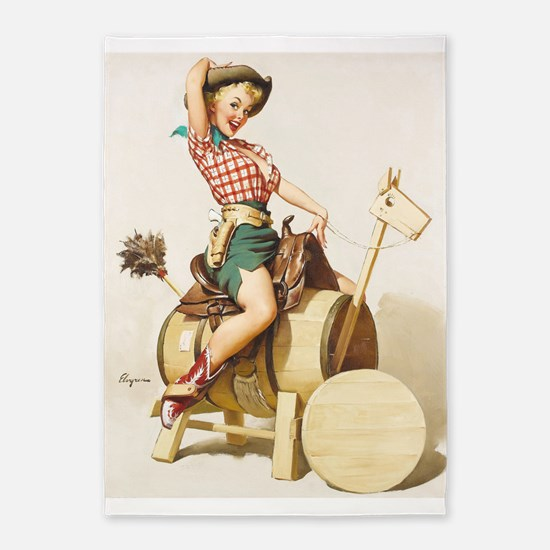 Pin Up Girl, Wood Horse, Vintage Poster 5'X7'area