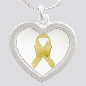Yellow Awareness Ribbon Silver Heart Necklace