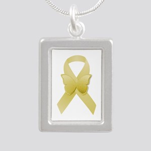 Yellow Awareness Ribbon Silver Portrait Necklace