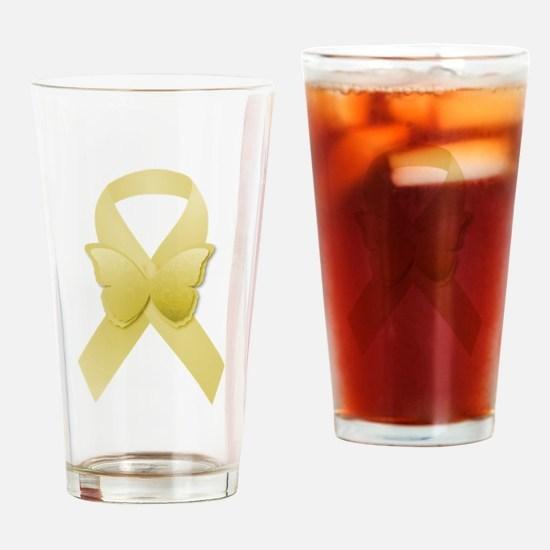 Yellow Awareness Ribbon Drinking Glass