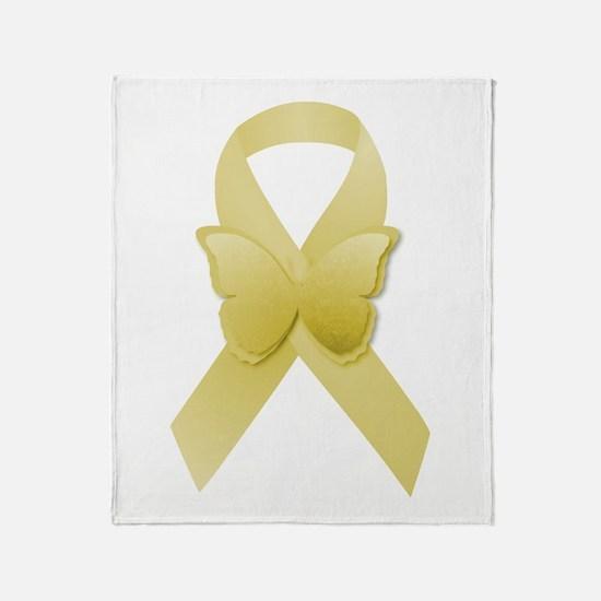 Yellow Awareness Ribbon Throw Blanket