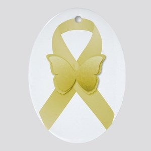 Yellow Awareness Ribbon Ornament (Oval)