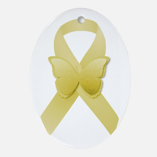 Yellow Awareness Ribbon Ornament (Oval)