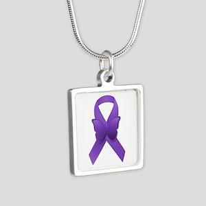 Purple Awareness Ribbon Silver Square Necklace