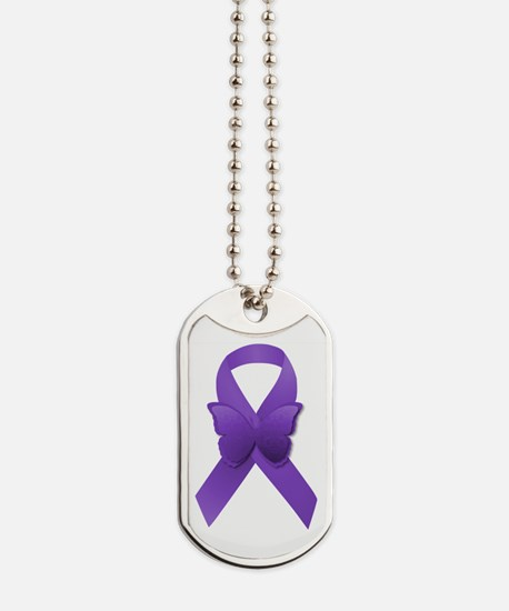 Purple Awareness Ribbon Dog Tags